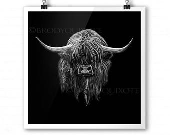 Highland Cow art. Wee Hamish the Scottish Heilan Coo Giclee Print, illustration, animal art. Monochrome Highland Cow With Black Background.