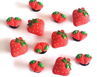 2 pins clips strawberries type Jibbitz shoe fangs, garment, bag decoration shoe charms