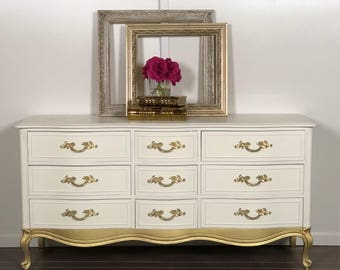 Vintage Nine Drawer White and Gold French Provincial Dresser by Drexel