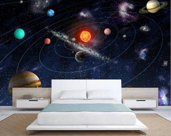 solar system wallpaper, solar system wall mural, galaxy wallpaper, galaxy wall decal, star wallpaper, star wall mural, solar system decal