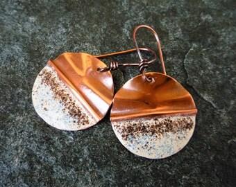 Copper earrings, Enameled earrings, Circle earrings, Artisan earrings, Metalwork jewelry, Enamel jewelry