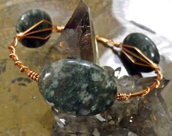 Kashgar Garnet and Copper Bangle Bracelet