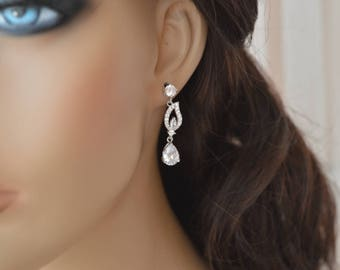 Cubic zirconia earrings,Wedding Earrings, Bridal jewelry,zirconia jewelry,prom.