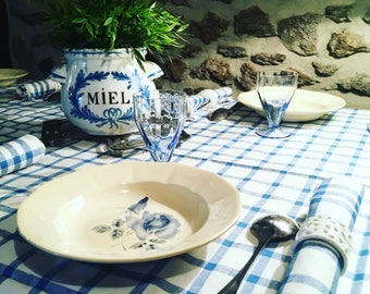 """6 soup plates Digoin """"Opaque de Sarreguemines. . 1930 s blue and ivory. Old dishes. antique french. Shabby"""