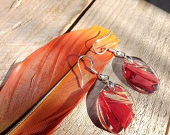 Red flower petal earrings