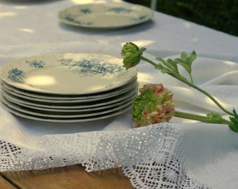 Linen and lace vintage inspired table cloth