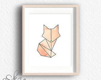 Geometric fox, geometric fox print, minimalist poster, fox print, fox art, geometric animal, geometric art, fox wall art, fox printable, fox
