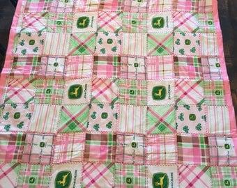 Pink John Deere baby blanket