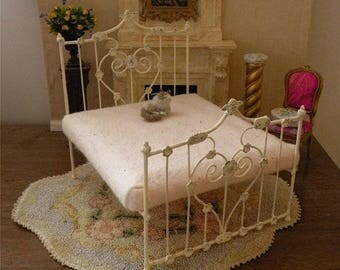 "NEW DESIGNS!  Artisan Made Dollhouse Miniature Wrought Iron Look Bed ""STELLA"" 1:12 Scale Twin and Full, Half Scale"