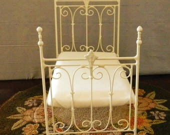 "NEW!! Our ""CHIC and CHEAP"" line is now live! Artisan Made Dollhouse Miniature Wrought Iron Look Bed ""Linden"" 1:12 Scale Twin and Full"