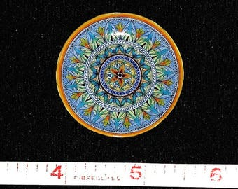 Artisan Made Dollhouse Miniature Majolica Plate Handpainted, 1:12 Scale