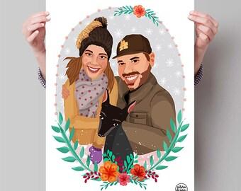 Custom Portrait, Couple Portrait, Printable Valentines Art, Custom Drawing, Personalized Portrait, Couple Illustration, Gift for Boyfriend