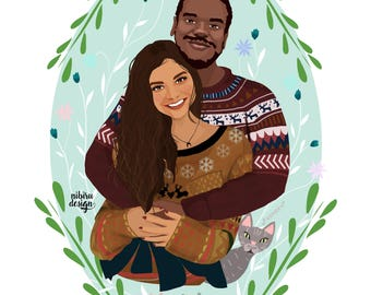 Custom Portrait, Couple Illustration, Personalized Gift, Gift for Boyfriend, Anniversary Gift, Birthday Gift, Couple Portrait, Couple Art