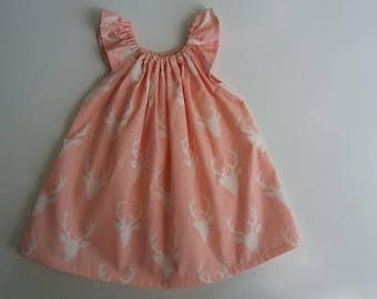 Pink Stag Deer Flutter Sleeve Peasant Dress Baby Girls Toddler