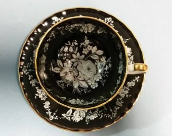 Aynsley Black and White Roses Cup and Saucer