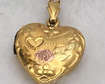 Vintage 10k Gold Filled 3/4 inch Heart Locket Necklace – Floral and Heart Etched Design