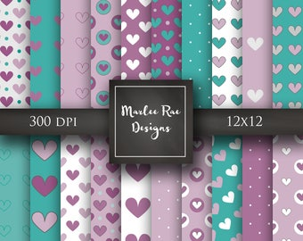 20 Purple and teal heart digital papers-digital scrapbooking papers