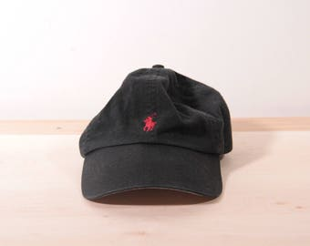 Polo by Ralph Lauren leather back hat in black