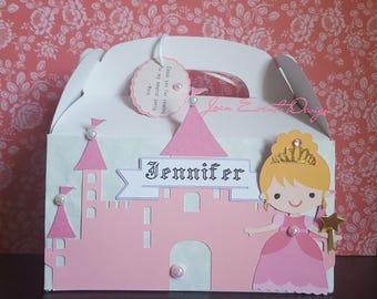 Princess Personalized castle party favor boxes