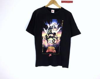 Rare!!! Vintage 90's Nike T-shirt Nike Charles Barkley vs Godzilla 1992 Sportwear Hip Hop