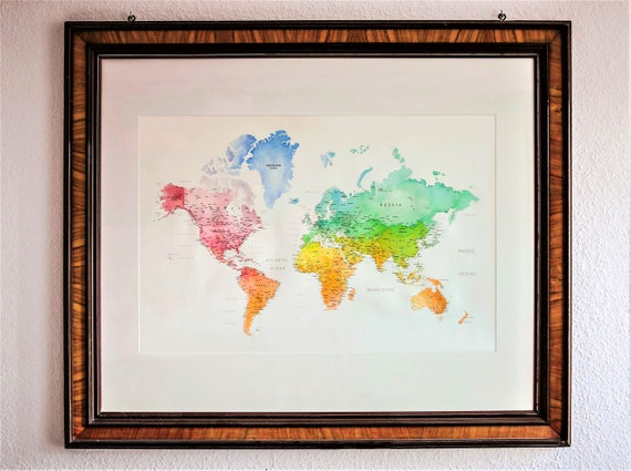 World Map Watercolor Handmade (106x78cm) world maps, handmade watercolour