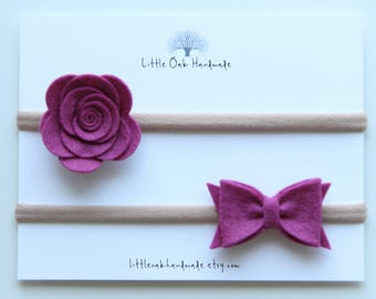 Set of 2 Wool Felt Rose and Bow - Mulberry - Baby Headband - Nylon Headband