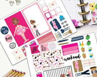 Ballerina Theme Planner Weekly Sticker SMALL Kit, BIG Happy Planner Sticker, Weekly Set, Stickers, Printed, Cut, Dance Practice, Ballet