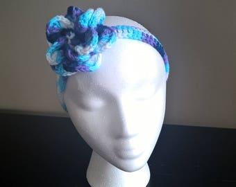 Flower Crochet Headband Shades of Blue and Purple