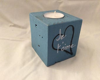 Gustavian blue wood candle holder