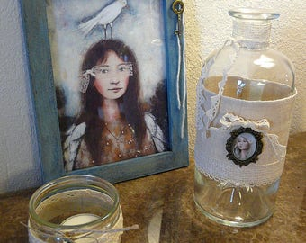 Soliflore Vase set + frame with print of one of my paintings + 1 candle
