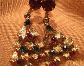 BEAUTIFUL VIntage Weiss Gold Tone Christmas Tree with Coloful Rhinestones Screw Back Earrings.