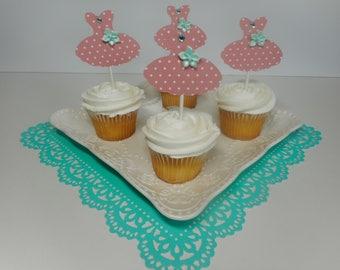 12 Ballerina Cupcake Toppers, Ballerina Dress, Ballerina Decoration, Ballerina Cupcake Toppers, Party Decoration, Birthday Party