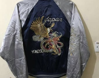 Sale Free shipping...Vintage Souvenir Sukajan Satin Jacket/Embroidered Eagles and Dragon On Back And Front Two Color/Size Large.