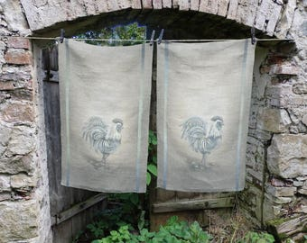 Hand painted linen tea towel