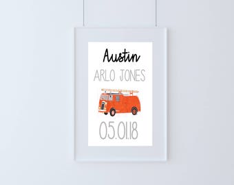 Personalised New Baby Fire Engine Print, Birth Print, Nursery Print, Fire Engine Nursery Decor, Unique Baby Gift,Nursery Wall Art, A4 Print