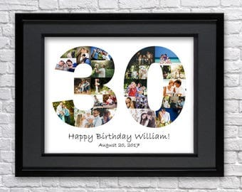 Digital File 30 Anniversary Gifts Number Photo Collage Thirty Birthday Custom Photo Collage Photo Collage Gift 30th Birthday 30th Gift Art