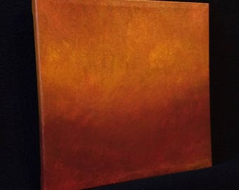 Ambient Painting 2017 #24 (Flambera) - square red yellow orange abstract landscape non-objective small