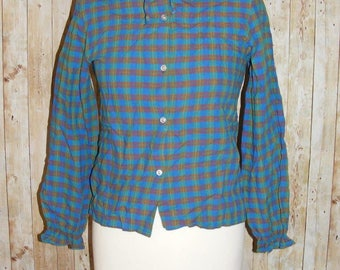 Size 6 vintage 70s high frilly tie neck long sleeve blouse green check (HK93)