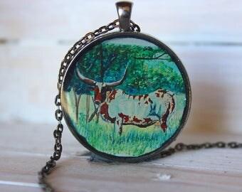 Longhorn Necklace, Longhorn jewelry, Pendant necklace, farmer's wife gift, wearable art, longhorn cow, Texas Longhorn, cowgirl necklace