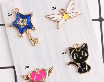 Anime Charms, 10PCS, Enamel Charm, Flying Heart Charm, Heart Charms, Black Cat Charm, Jewelry Findings, Craft Supplies
