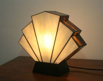 Lamp Art Deco stained glass Tiffany Flabellum amber
