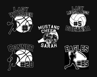 Custom Sports Decal - Basketball Decal - Volleyball Decal - Cheerleading Decal - Football Decal - Stocking Stuffers - Stocking Personalized