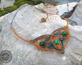 Macramé necklace with malachite-macramé necklace with malachite