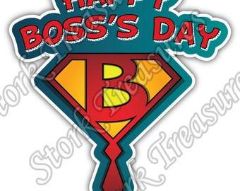 Happy Boss's Day Superhero Boss Business Car Bumper Vinyl Sticker Decal