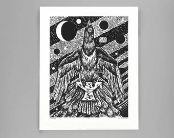 Cosmic Pigeon Post print by our own Jan Hamstra (linocut, print, art print, illustration)