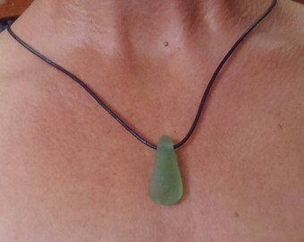 BOHO Surf Jewelry. Genuine Sea Glass Pendant. Mermaids Tear Sea Glass On Black Leather Cord.