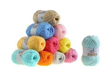 10 x 50 g knitting wool Baker by VLNIKA, free choice of color (color: mint)