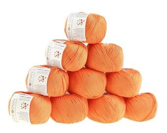 10 x 50 g knitting wool cotton, marble, #192 orange