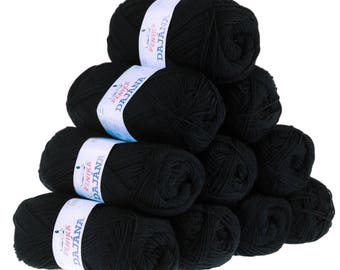 10 x 50 g knitting wool Dajana uni by VLNIKA, #458 black