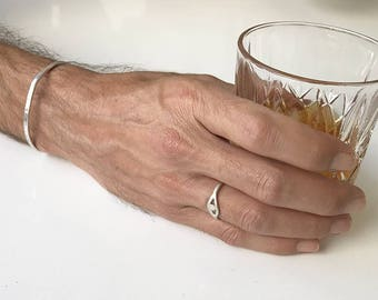 Men's Silver Bracelet, Mens Silver Bangle, Open Bracelet, Adjustable Bracelet, Bangle Bracelet Men's, Hammered Bracelet, Silver Jewelry Men